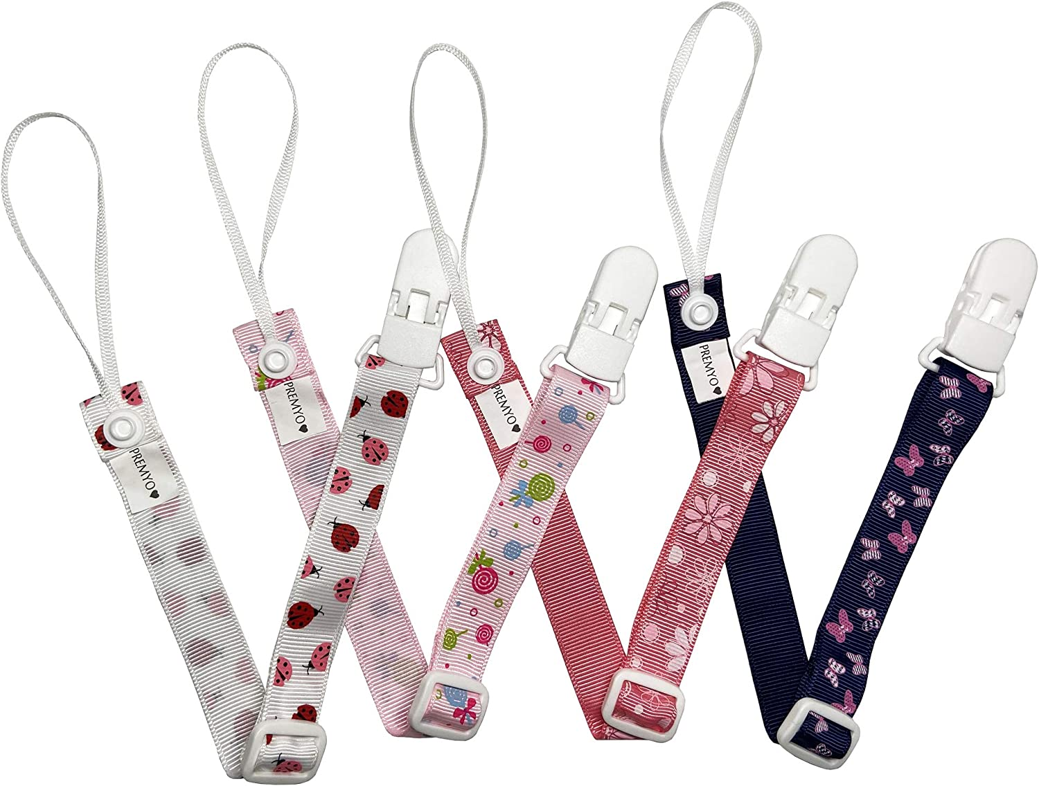 Baby Soother Chain Adjustable Length Universal Fit Rose PREMYO 4 Pack Dummy Clips for Girls Pacifier Holder Strap