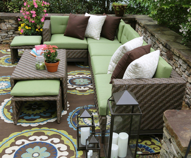 amazoncom ae outdoor hampton 8 piece sectional with sunbrella fabric garden outdoor - Garden Furniture 8 Piece