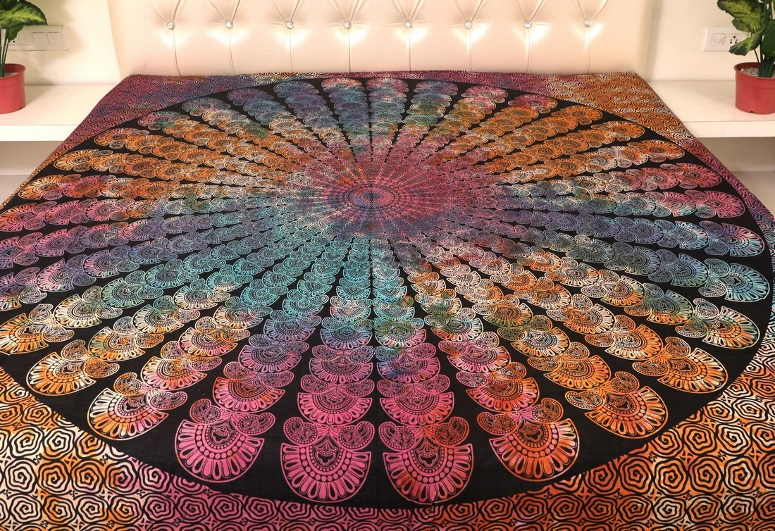 Multicolored Tie Dyed Sarjana Handicrafts Indian King Size Cotton Flat Bed Sheet Psychedelic Tie Dyed Bedspread Bedding