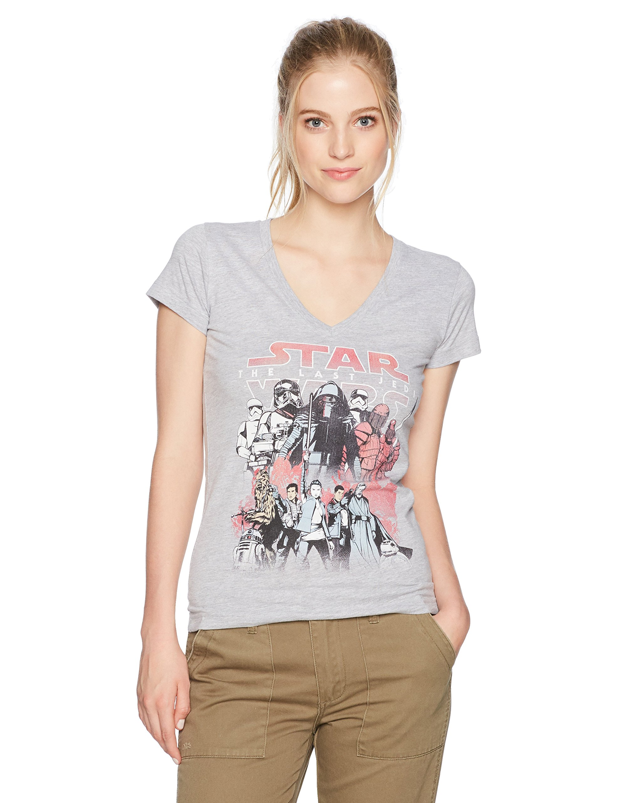 Star Wars Junior's Good and Evil Poster Top, Athletic Heather, Medium