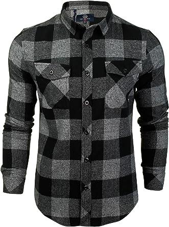 Duck and Cover - Camisa de cuadros de franela para hombre Negro Negro (S: Amazon.es: Ropa y accesorios
