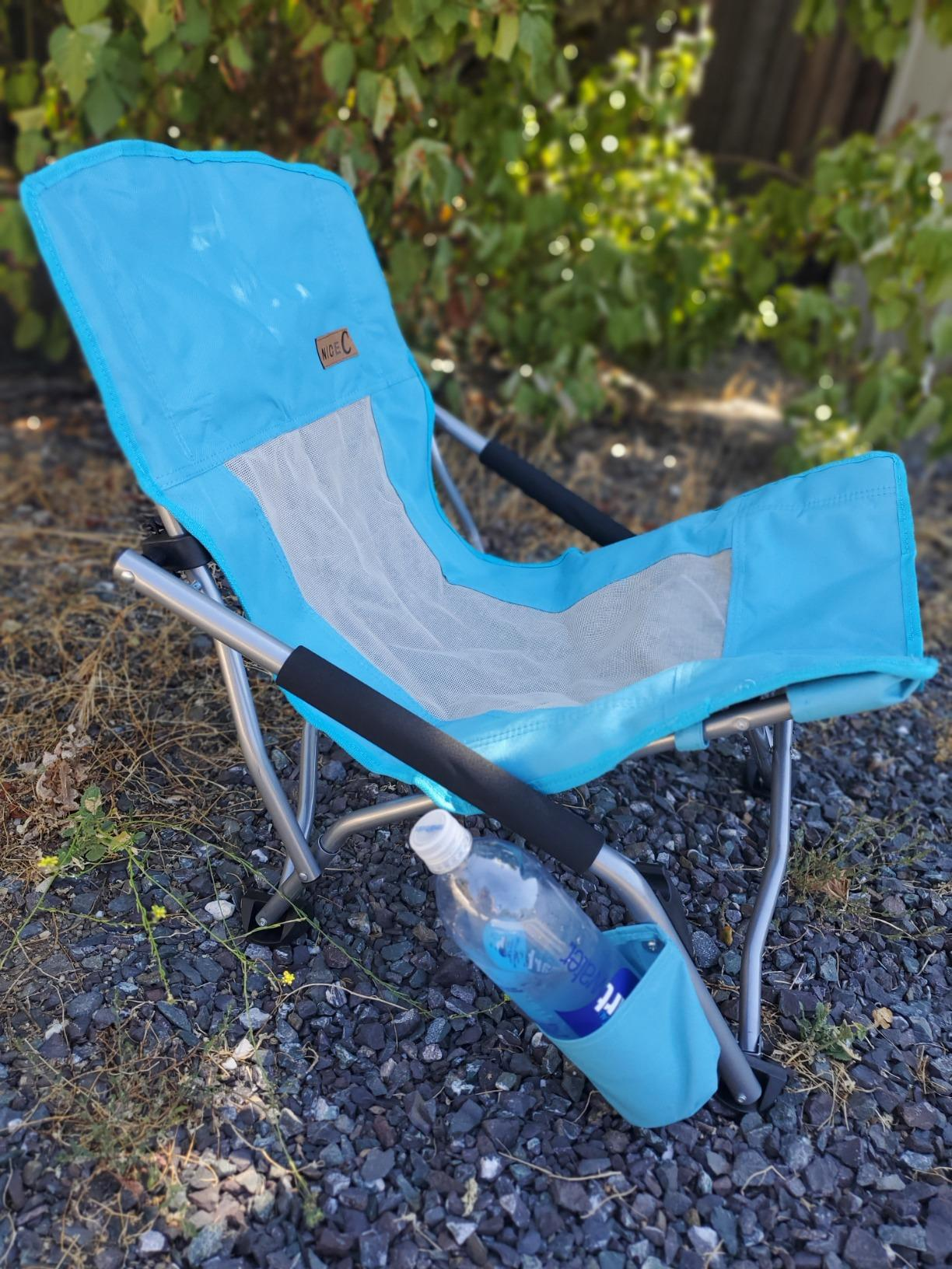 Nice C Low Beach Camping Folding Chair, Ultralight Backpacking Chair with Cup Holder & Carry Bag Compact & Heavy Duty Outdoor, Camping, BBQ, Beach, Travel, Picnic, Festival photo review