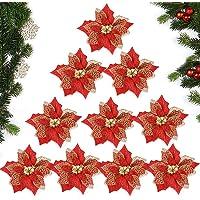 MEJOSER 10pcs Flores Navidad Artificiales Grandes 22cm