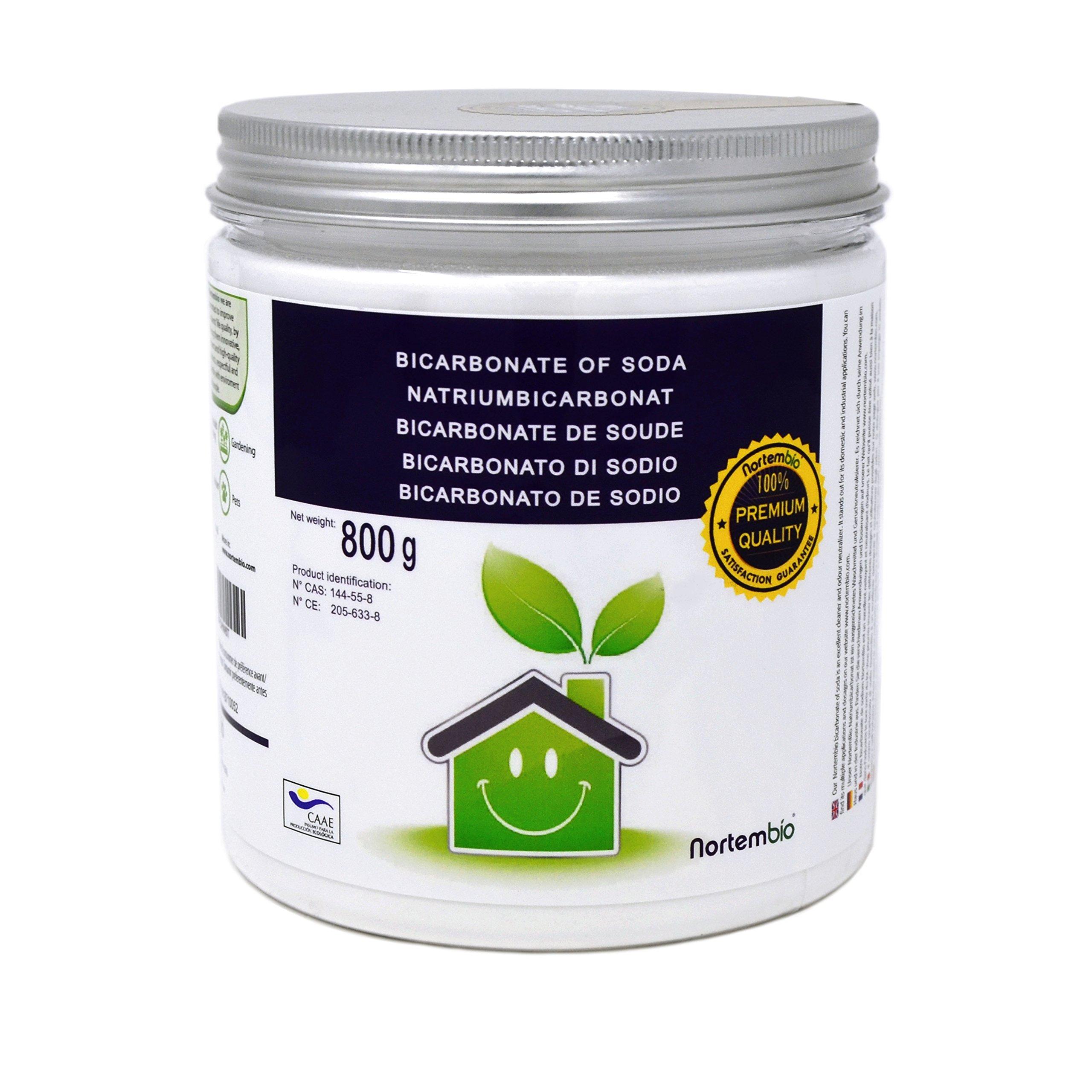 NortemBio Bicarbonato de Sodio 800g, Insumo Ecológico de Origen Natural, Libre de Aluminio,