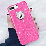 iPhone 8 Plus Case, iPhone 7 Plus Case, DAUPIN Bling Clear Crystal Sparkle Glitter Case for Women Apple iPhone 8 Plus 7 Plus-Pink