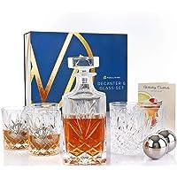Nou Living 11 Pc Crystal Whiskey Decanter Set with Glasses – Classic Whiskey Decanter and Glass Set of 6 – Crystal…