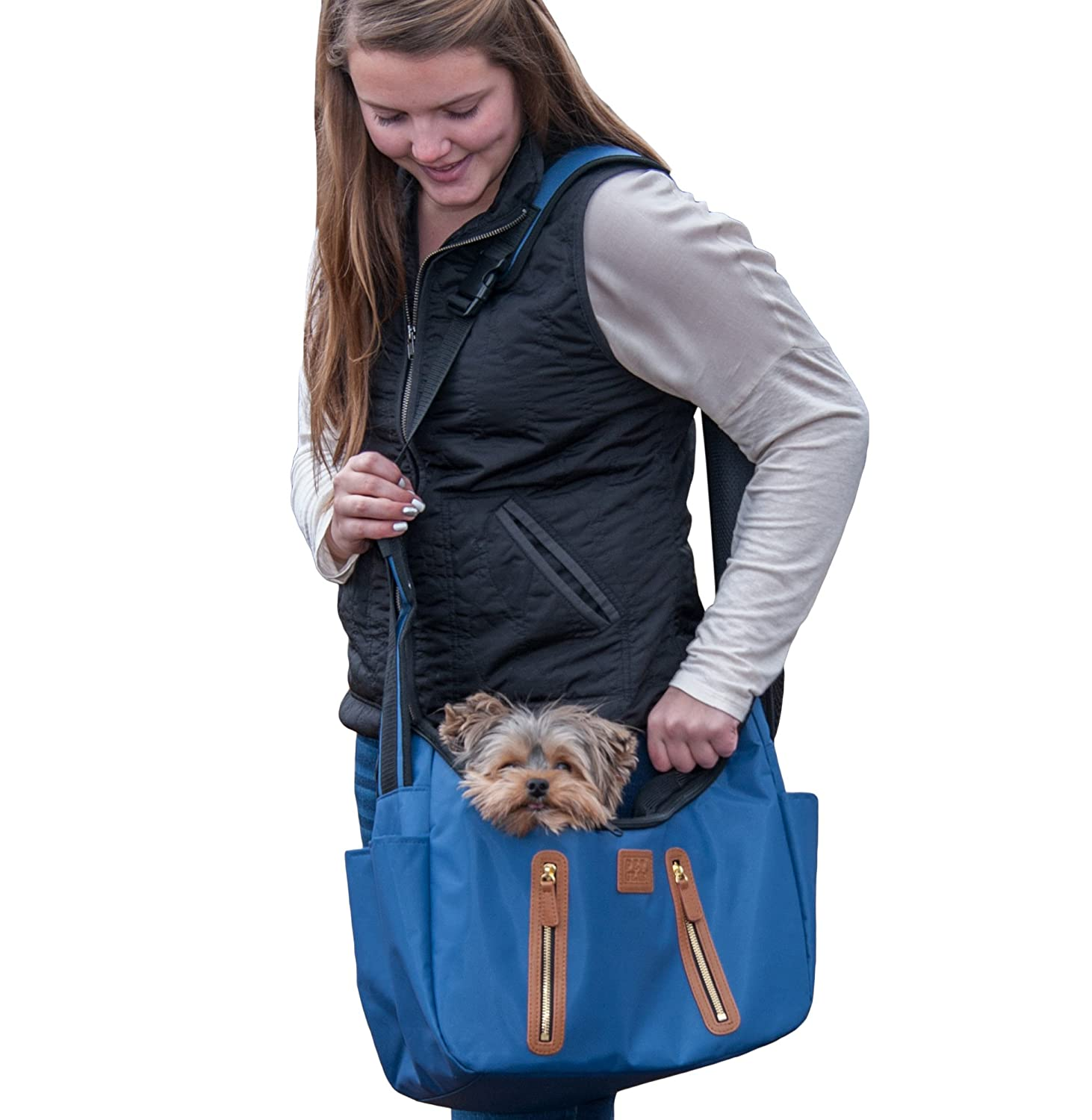 Navy Pet Gear R&R Sling Carrier for Cats Dogs, Storage Pockets, Removable Washable Liner, Zippered Top with Mesh Window