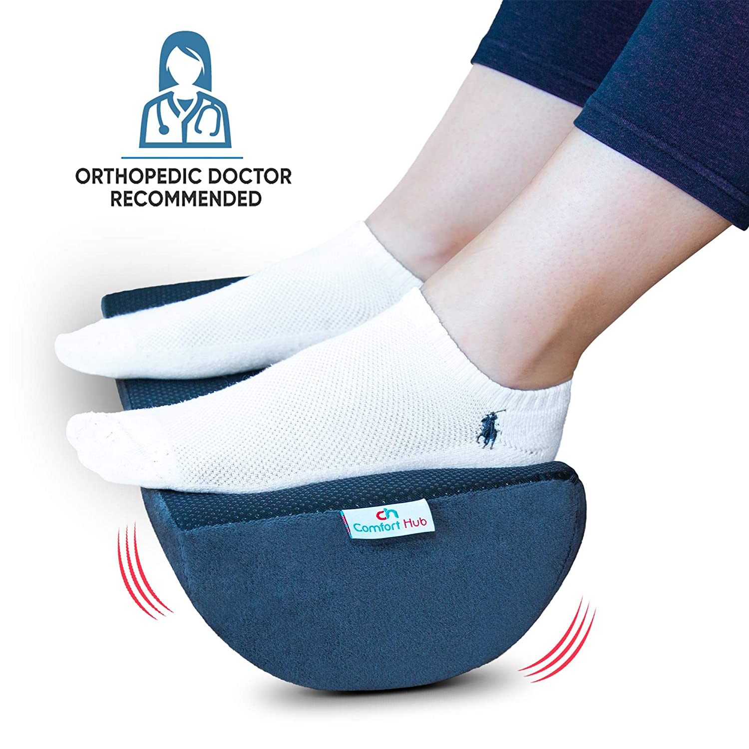 Comfort Hub Ergonomic Foot Rest Cushion – Gel-Enhanced Memory Foam Under Desk Footrest Pad for Your Home and Office Workstation – Get Relief from Knee and Back Pain with This Ergo Foot Support