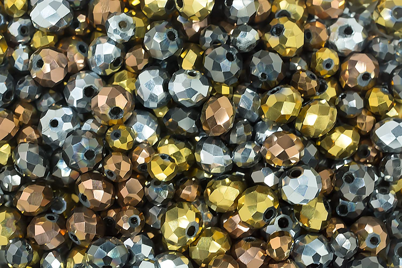 peltro e argento per la creazione di gioielli e articoli di artigianato oro Set misto di perline in cristallo di vetro color bronzo colori metallici 400 pezzi