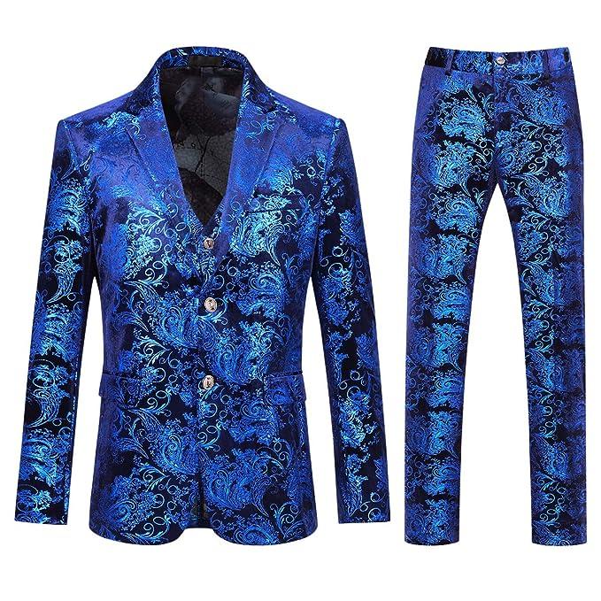 Amazon.com: Vestido de hombre floral traje de un solo pecho ...
