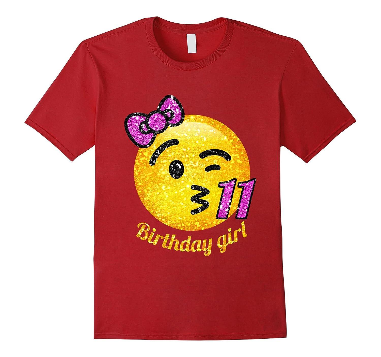 11th Birthday Throwing A Kiss Emoji With Number Shirt TD Teedep
