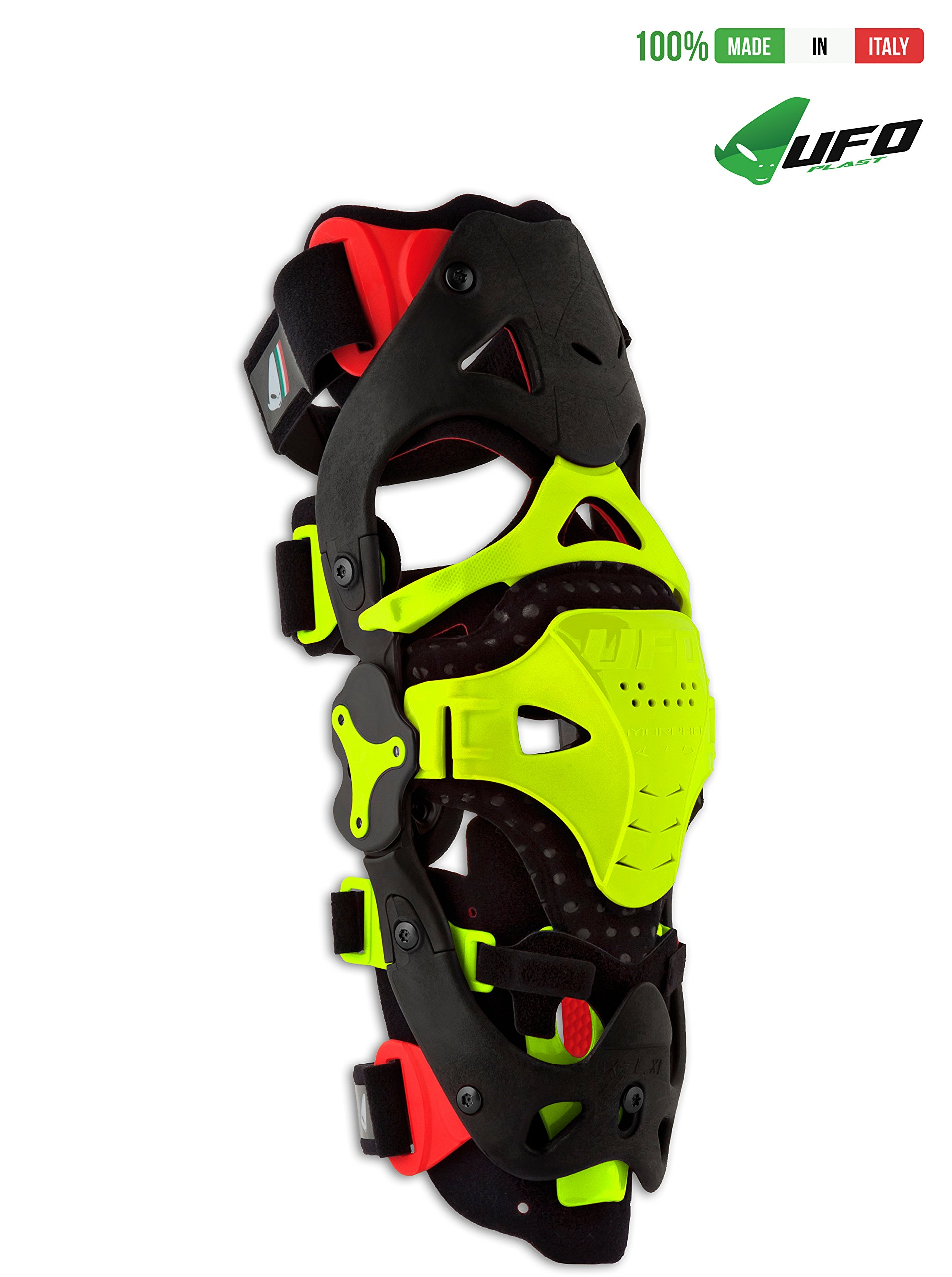 UFO PLAST Made in Italy KB002 MORPHO FIT - RIGHT SIDE Jointed Brace for Knee Protection in Sport / Patella Protection / Motorcycle, Motocross, Snowboard, Skateboard, Ski - L/XL / Color: Neon Yellow