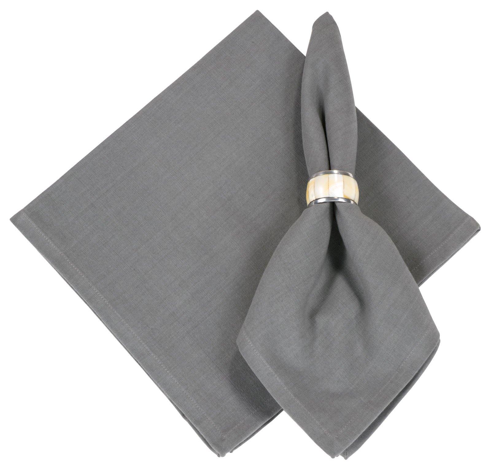 100% Cotton Solid Graphite Grey 22''x22'' Oversized Napkins, Set of 6