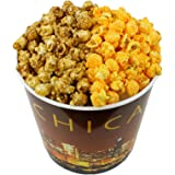 Signature Popcorn - Gourmet Popcorn - 1-Gallon Chicago Skyline Reusable Plastic Tin, 2-flavors - Caramel and Cheddar Cheese