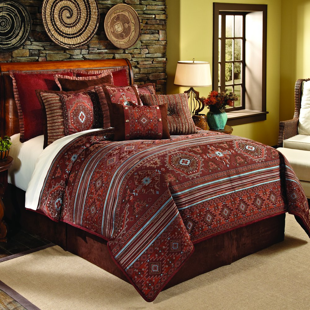 Brown and red bedding - Amazon Com Veratex Pueblo Collection Contemporary Style Luxurious Polyester 4 Piece Bedroom Comforter Set King Size Rust Home Kitchen