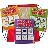 Word Winks Puzzle Three Book Set Original, More & Even More Word Winks from Mindware Bonus Black Mesh/Red Nylon Drawstring Carry Bag Bundled Items