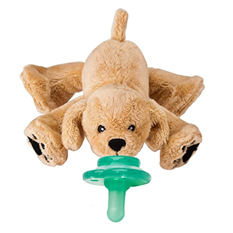 Nookums Paci-Plushies Buddies - Retriever Pacifier Holder - Plush Toy Includes Detachable Pacifier, Use with Multiple Brand Name Pacifiers