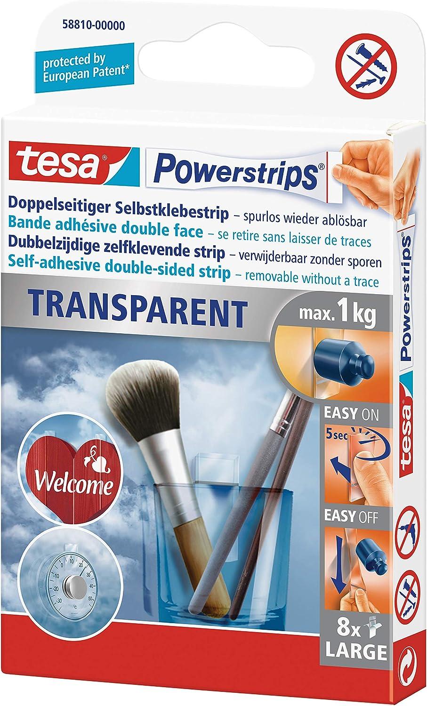 Packung mit 8 Strips transparent, 2 Packungen 1kg tesa Powerstrips Strips TRANSPARENT f/ür max