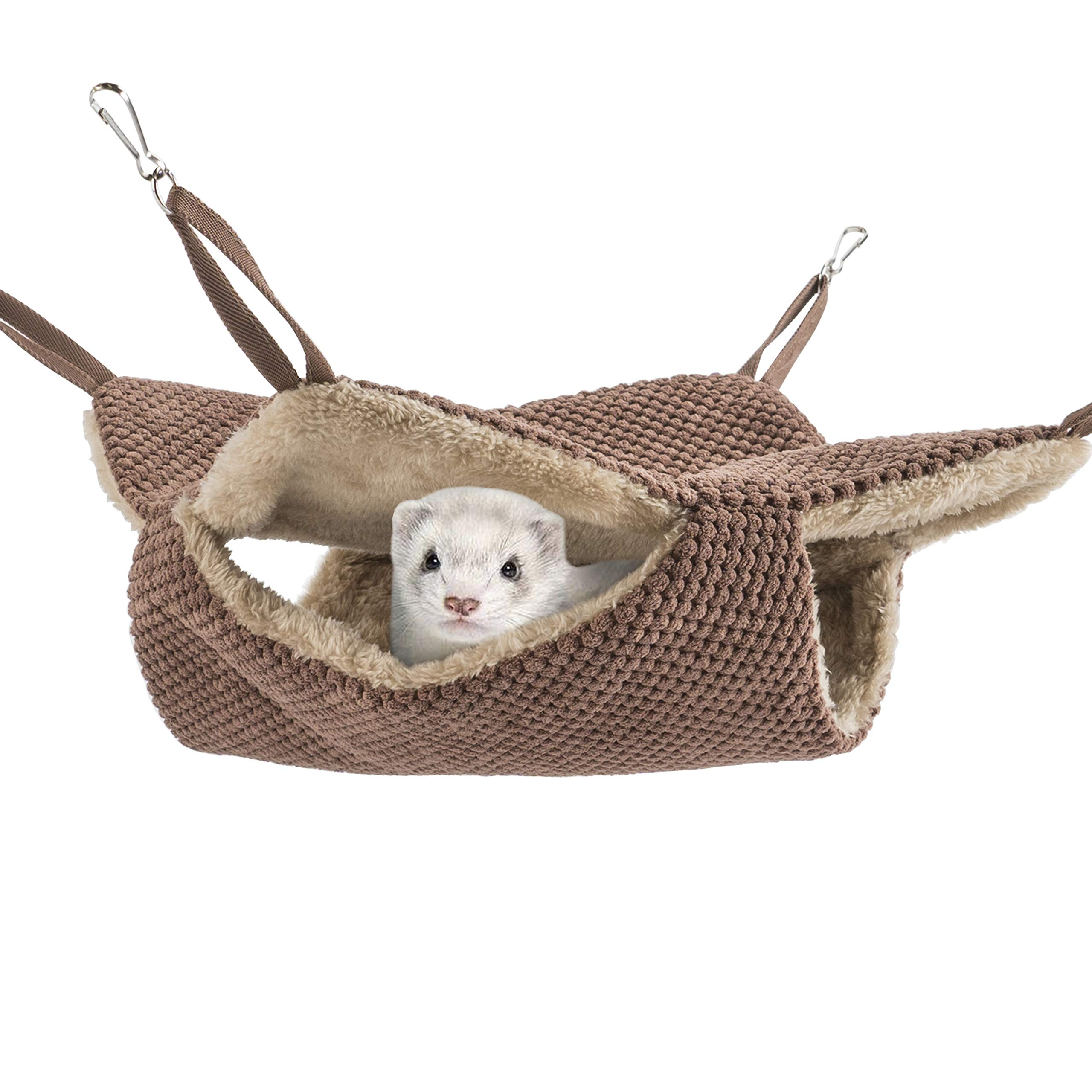 Niteangel Cage Hammock Pet Nap Bed Accessories Fit Adult Ferrets or 2 More Adult Rats (Chocolate) by Niteangel