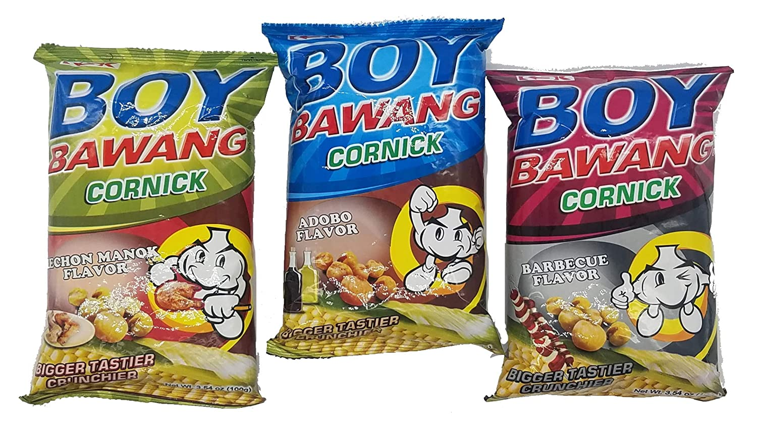 Boy Bawang Cornick Filipino Snacks Variety Pack Adobo, BBQ and Lechon Manok Flavor, 3.54 ounce, 1 Each Flavor