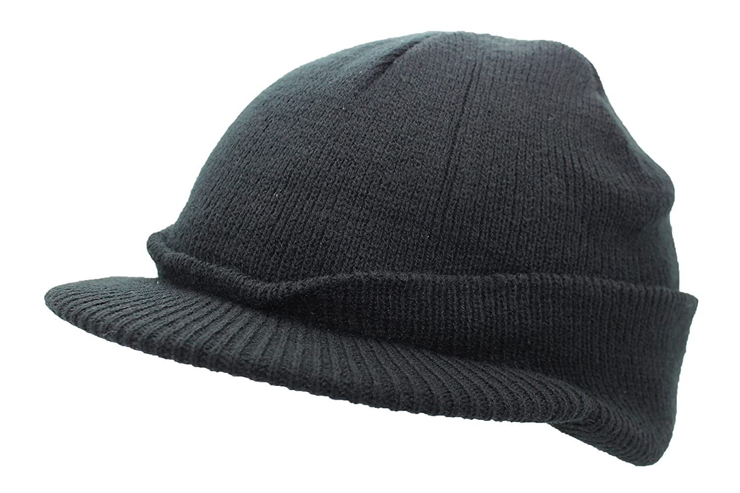 b2a158bd86a Black US Army Style Cadet Peaked Jeep Cap Fine Knitted Winter Peak Beanie  Hat: Amazon.co.uk: Clothing