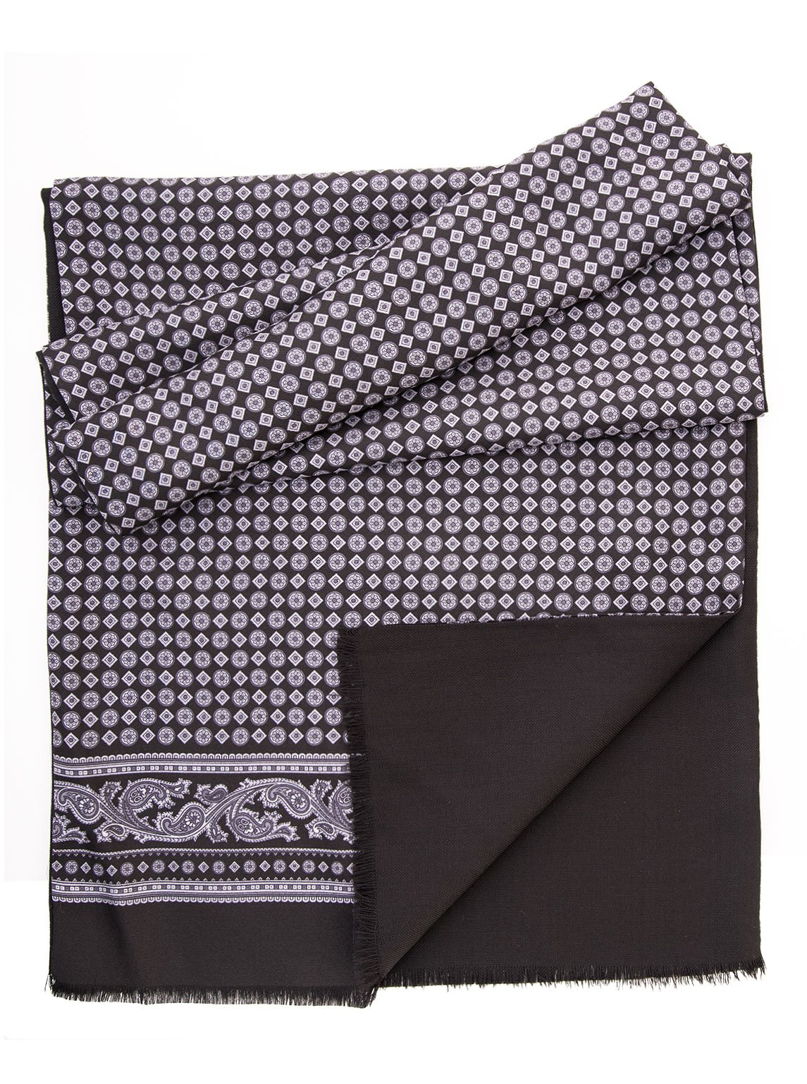 Elizabetta Men's Italian Silk Wool Lined Scarf - Black & Grey