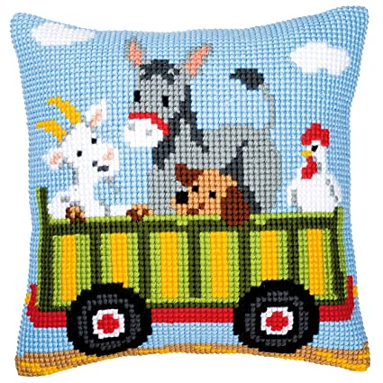 Amazon.com: Vervaco Tractor 3 Cushion Cross Stitch Kit
