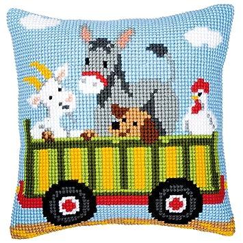Amazon.com: Vervaco Tractor 3 Cushion Cross Stitch Kit