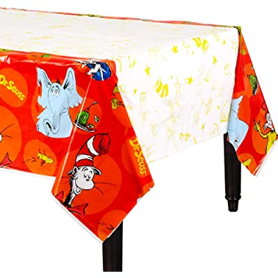"""amscan Dr. Seuss Party, Plastic Table Cover, 54"""" x 96"""": Toys & Games"""