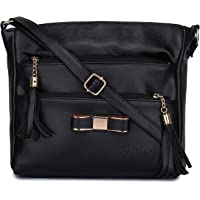 GLOSSY PU Sling Bag With 5 Zip Compartments - Black