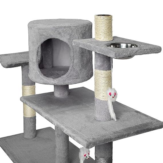TecTake Rascador para gatos Árbol para gatos Sisal Juguetes 167cm - disponible en diferentes colores - (gris | no. 400447): Amazon.es: Hogar