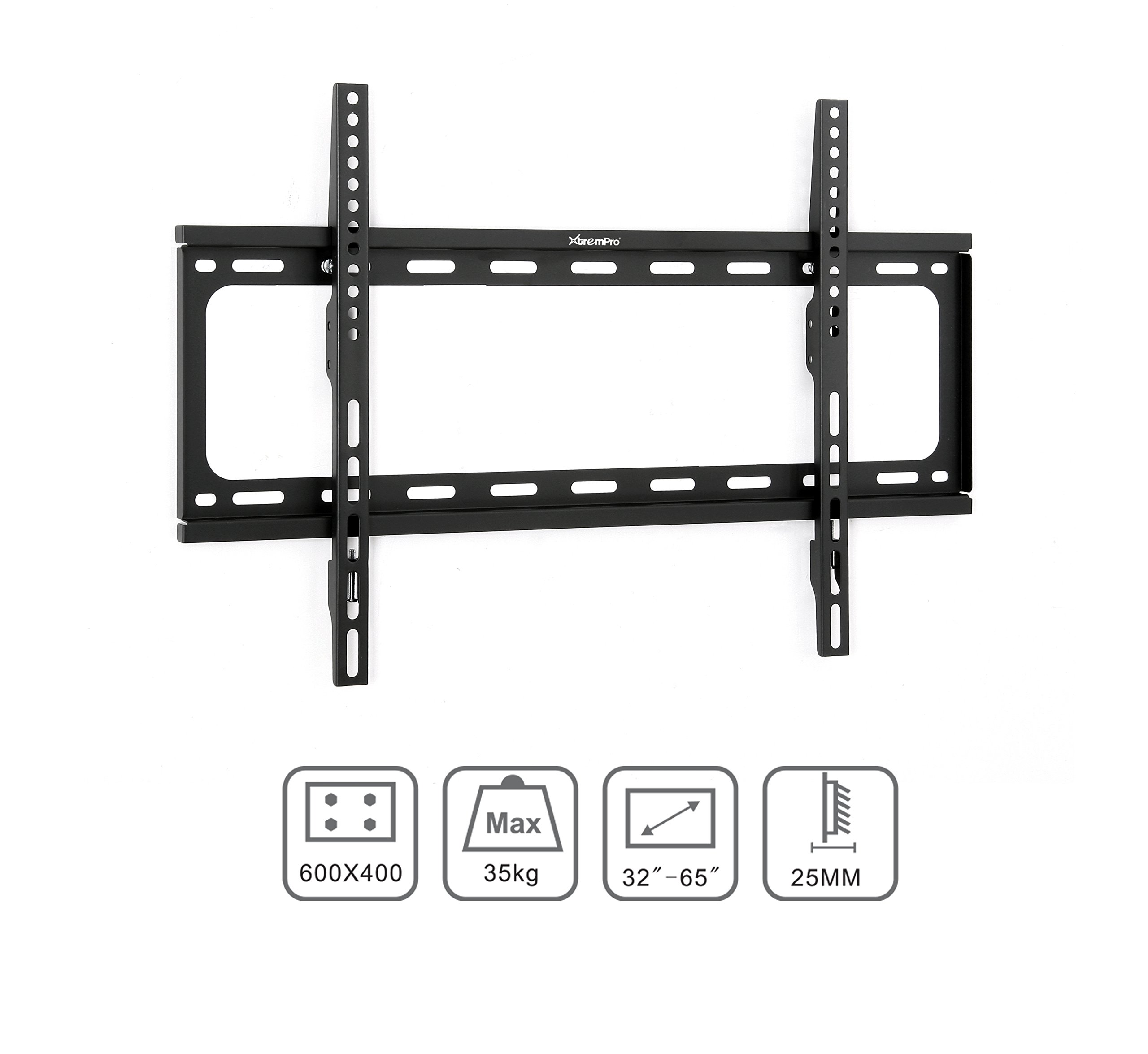 Xtrempro Low-Profile TV Wall Mount 1'' Slim Fixed Bracket w/Magnetic Removable Bubble Level for 32-65 inch LCD, LED, 4K or Plasma TVs VESA up to 600 x 400, 77 lbs Loading Capacity - Black (41033) by XtremPro