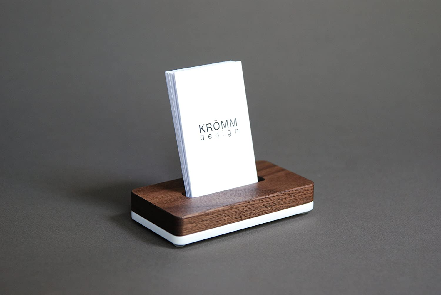 Vertical MOO Business Card Stand, Vertical Business Card Holder, Business Card Display for Vertical Business Cards, in Walnut Wood and White Acrylic