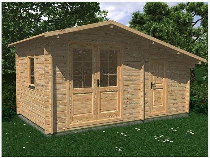 Mondocasette casa caseta de Madera de jardín - Modelo Deco Grosor Paredes 45 mm 5 x 3 m.trastero leñera Box: Amazon.es: Jardín