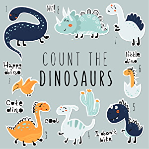 Count the Dinosaurs: A Fun Puzzle Book Gift for Kids, Boys or Girls.