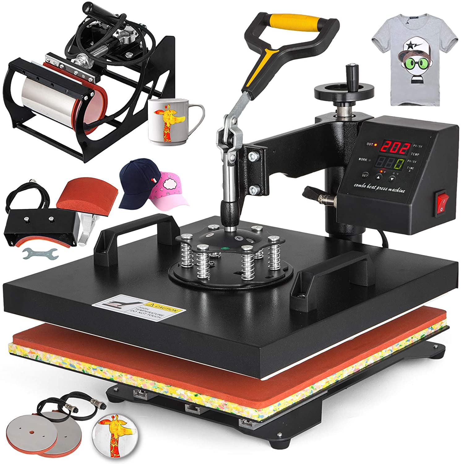 VEVOR 12 X 15 Inch 8 in 1 Heat Press Digital LCD Controller T Shirts Press Machine Swing Away Design Heat Press Machine Transfer Sublimation Hat Mug Cap Plate Mouse Pad 12x15INCH 8IN1 Red