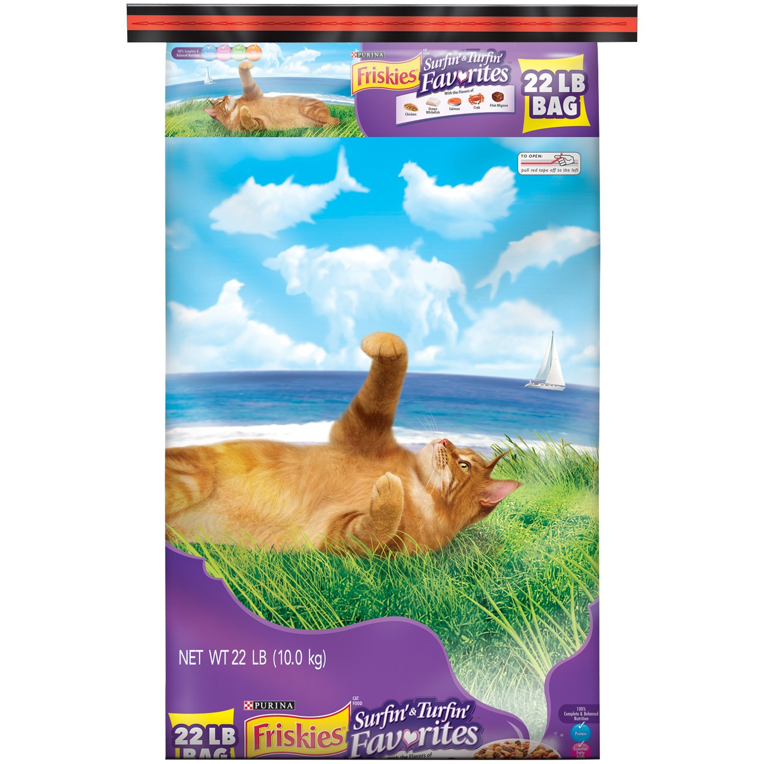 22 LB Friskies Dry Cat Food, Surfin 'e Turfin' Favriti, 22 -Pound Bag, Pack of 1
