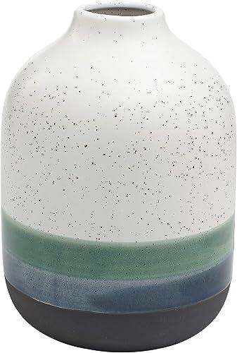 Amazon Brand Rivet Westline Modern Indoor Outdoor Hand-Painted Stoneware Flower Vase, 9.5 H, Teal White Blue Black