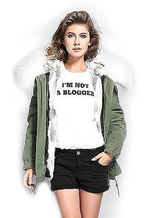S.ROMZA Mujer gruesa piel de conejo real Parka abrigo con capucha chaqueta de invierno