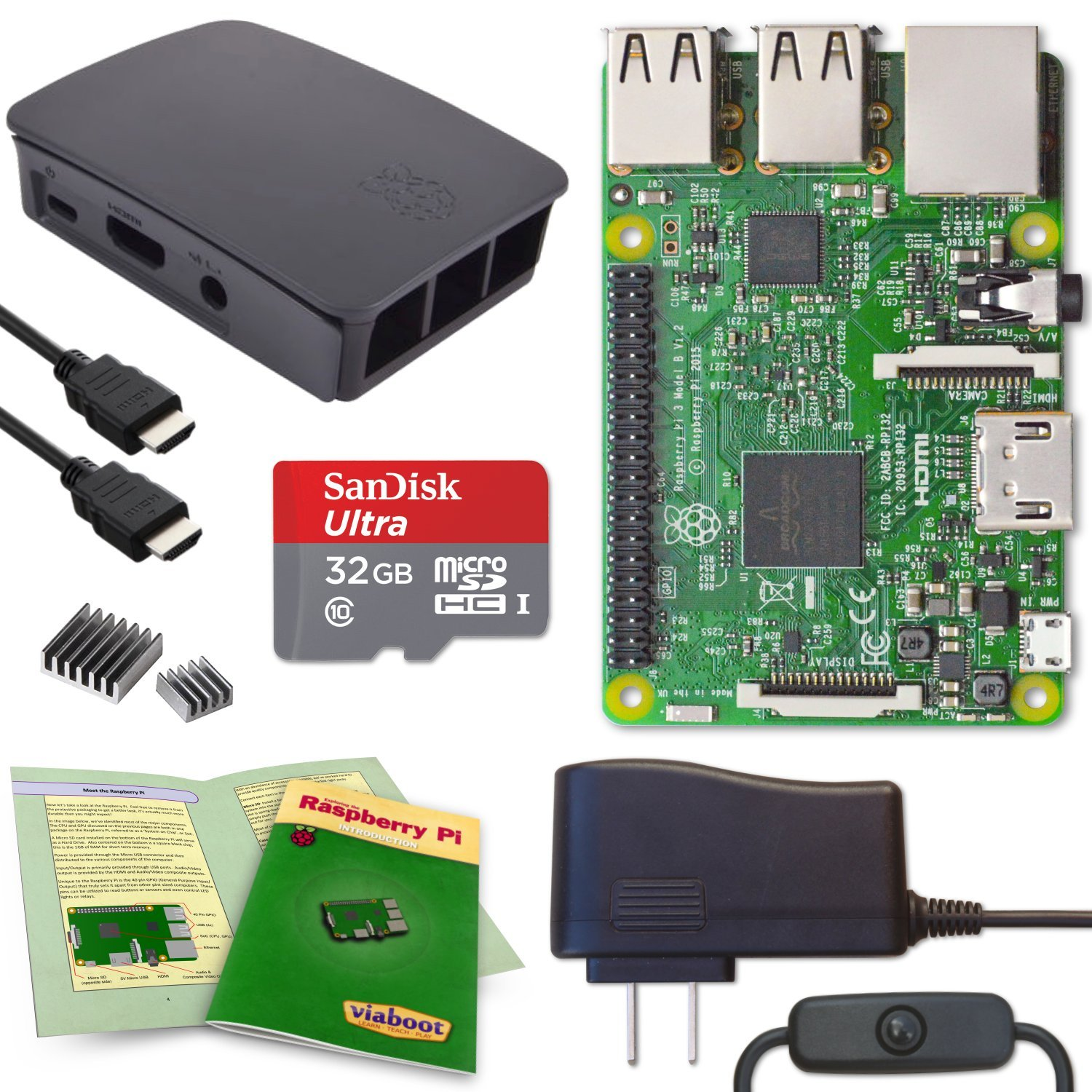 Viaboot Raspberry Pi 3 Complete Kit — 32GB Official Micro SD Card, Official Black/Gray Case Edition by Viaboot (Image #1)