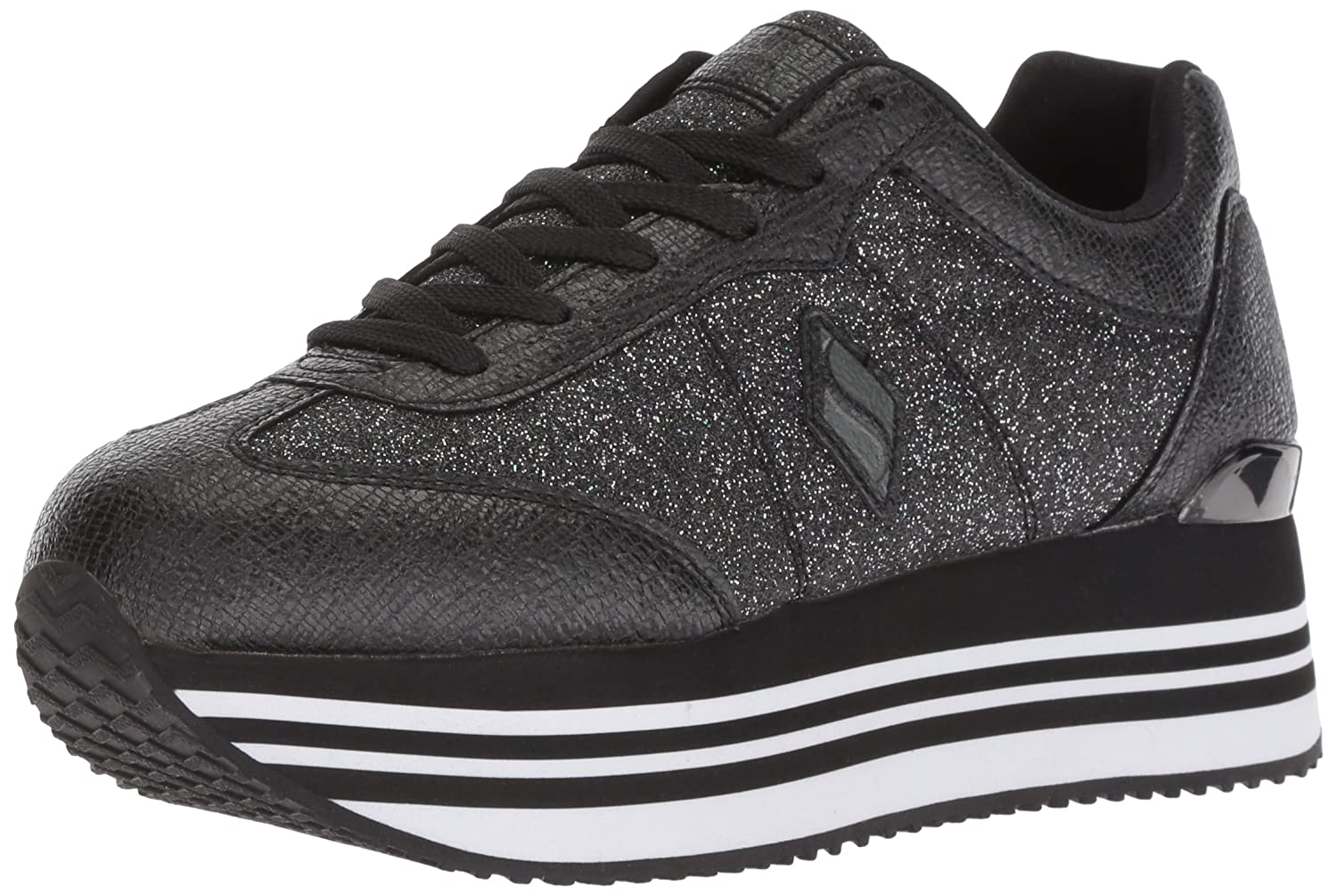 Skechers Women's Highrise-Glitter T Toe Sneaker B0787GT5B6 10 B(M) US|Black