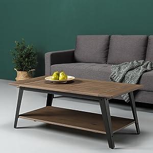 Zinus Woodrow Wood and Metal Coffee Table