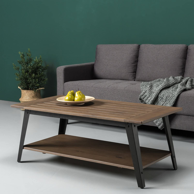 Amazon Com Zinus Woodrow Wood And Metal Coffee Table Kitchen