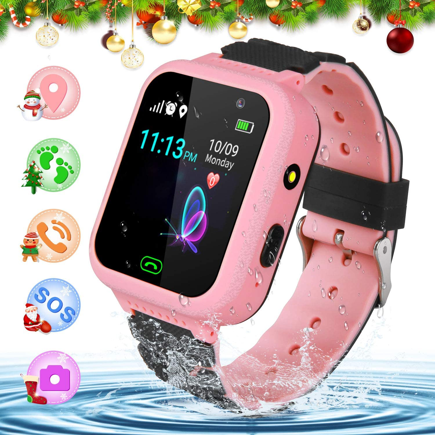 YENISEY Kids Smart Watch for Children GPS SOS Tracker Smartwatch, Waterproof with Chat Call Camera Alarm Clock Game Touch Screen Birthday Gifts for ...