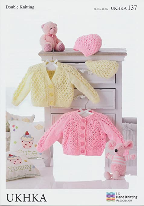 Double Knitting Pattern - Baby Round & V-Neck Cardigans & Hats ...