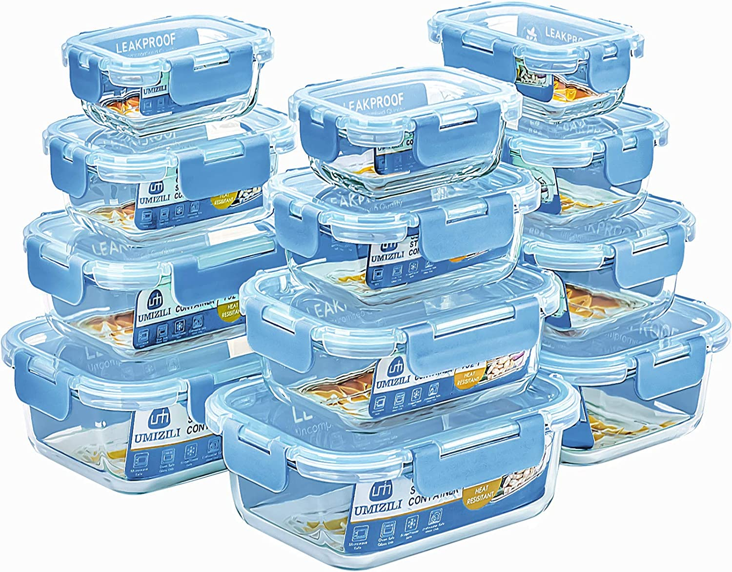 24-Piece Glass Food Storage Containers - Haze Blue Snap Locking Lids Leak Proof, 4 Size Glass Airtight Meal Prep Containers Set, Glass Lunch Boxes for Kitchen, Dishwasher & Microwave Safe