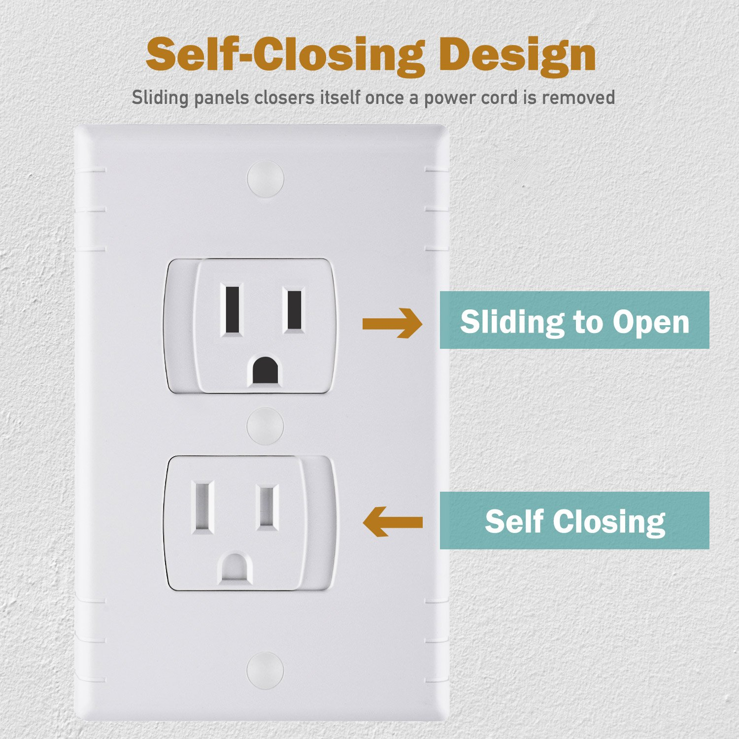 Universal Self Closing Electrical Outlet Covers Extra Nook Usb Cable Wiring Diagram Safe Retardant Child Safety Guards Socket Plugs Protector Bpa Free Hardware Included