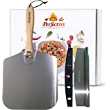 "The Perfect Pie Premium Pizza Peel Aluminum Pizza Paddle 12"" x 14"" with Foldable Wooden Handle and 14"" Heavy Duty Rocker Cutt"