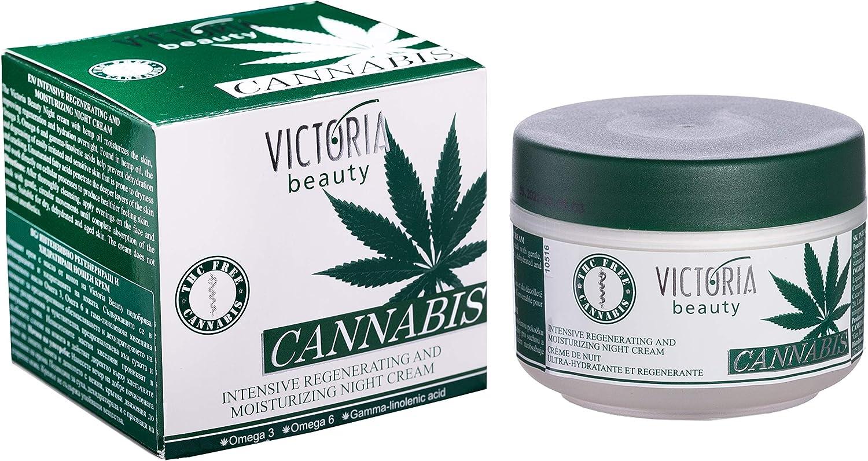 Crema de Noche Intensiva Regeneradora e Hidratante con Aceite de Semillas de Cáñamo y Omega 3 y 6 | Crema Facial Natural de Cannabis para Pieles Sensibles y Secas | PREMIUM 50ml
