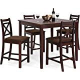Best Choice Products 5-Piece Wooden Counter Height Square Dining Table Set w/4 Chairs and Padded Seats - Espresso